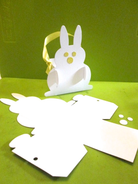 Bunny rabbit white favour box card perfect for easter gifts and eggs negle Gallery